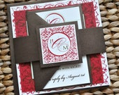 Paris Wedding Invitation Suite with Belly Band - Linen Ivory Paper with Metallic Brown with Red, Apple and Brown Ink