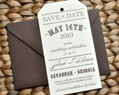 Vintage Tag Wedding Save the Date - Natural Ivory and Chocolate Brown