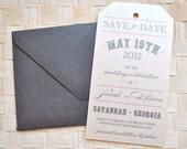 Vintage Tag Wedding Save the Date - Ivory, Pink, Charcoal Grey