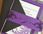 Limeade Wedding Invitation Suite with Belly Band - Purple, Black, Pewter Silver, and Off-White/Light Ivory
