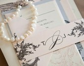 Limeade Deluxe Wedding Invitation Suite with Belly Band - Blush Pink, Ivory and Silver