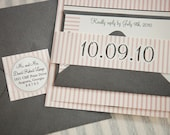 St. Charles Wedding Invitation Suite with Belly Band - Peach Pink, Ivory, Grey and Silver