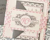 As seen on Style Me Pretty : Hamptons Wedding Invitation Suite with Belly Band -  pink and silver