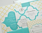 Heidi Wedding Invitation Pocketfold - Off-white, Chocolate, Aqua Blue and Yellow (customizable)