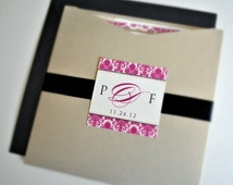 Krissy Wedding Invitation Suite with Pocket and Ribbon Band - Ivory, Champagne Gold, Black and Magenta (customizable)
