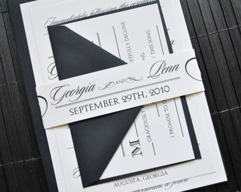 Hollywood Wedding Invitation Suite with Belly Band - Ivory and Black