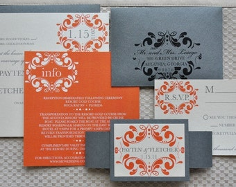 Melissa Wedding Invitation Suite - Pewter Silver, Orange and Ivory