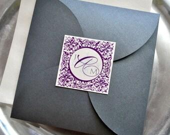Paris Pouchette Wedding Invitation Suite Purple and Silver