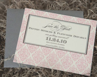 Damask Wedding Invitation Save the Date - Ivory, Pink and Pewter Grey