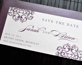 Lola Suite Save the Date - Metallic Off white, Charcoal and Eggplant