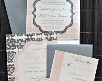 Liya Pocketfold Wedding Invitation Suite - Ivory, Charcoal, Pale Pink, customizable