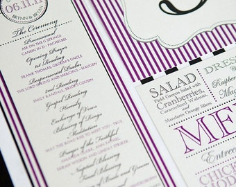 Elle Wedding Suite Program, Menu, Place/Escort Card, Table Numbers - Plum Purple and Pewter Grey, Customizable