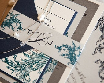 Limeade Wedding Invitation Suite with Belly Band - Navy, Pewter, Silver, Teal and Off White