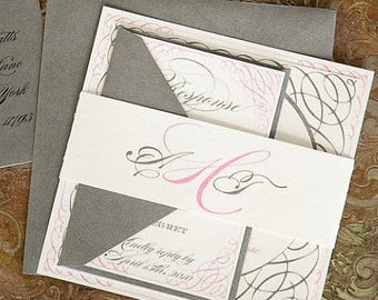 As Seen on Style Me Pretty - Portofino  Wedding Invitation Suite - Silver and Pink, Customizable