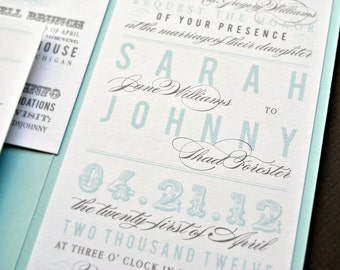 As Seen on Style Me Pretty - Chloe Pocket Wedding Invitation Suite with Belly Band - Aqua, Grey and White (Customizable)