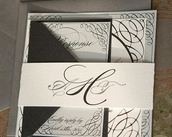 As Seen on Style Me Pretty -Portofino Wedding Invitation Suite -  Black, Silver and Off White