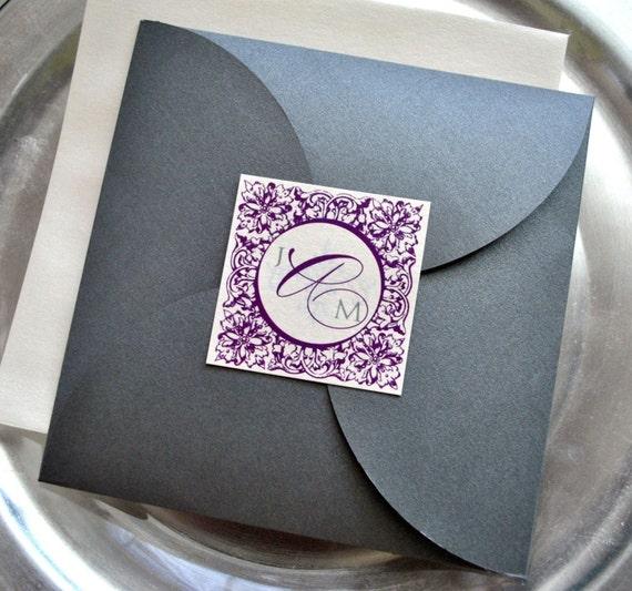 Purple And Silver Wedding Invitations: Items Similar To Paris Pouchette Wedding Invitation Suite