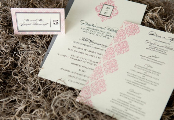 Damask Suite Wedding Accessories - Program, Menu, Table Number, Escort & Place Cards