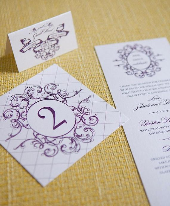 Lola Suite Wedding Accessories - Program, Menu, Table Number, Escort & Place Cards