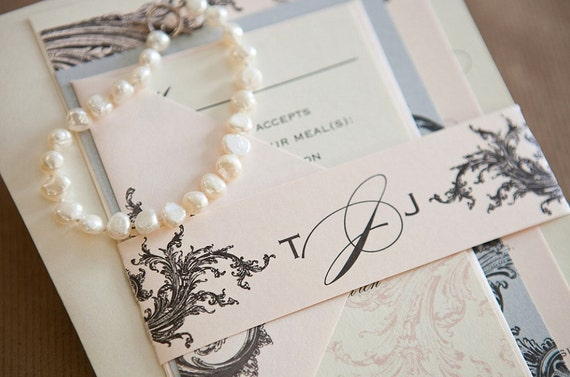Blush And Ivory Wedding Invitations: Items Similar To Limeade Deluxe Wedding Invitation Suite