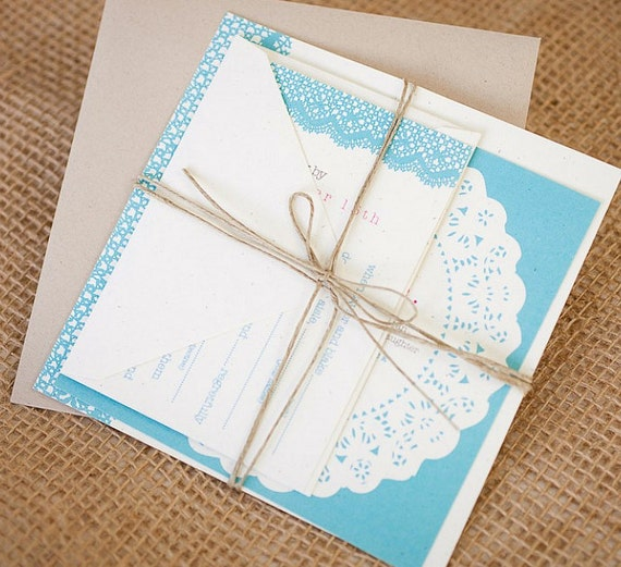 Items Similar To Lace Doily Wedding Invitation Suite With