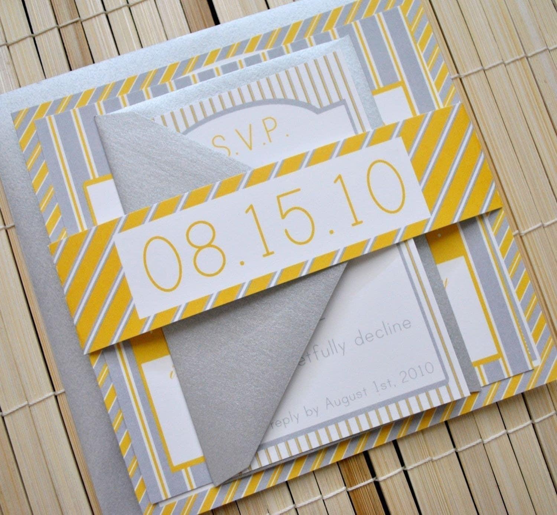 Augusta Wedding Invitation Suite Yellow Grey Silver By