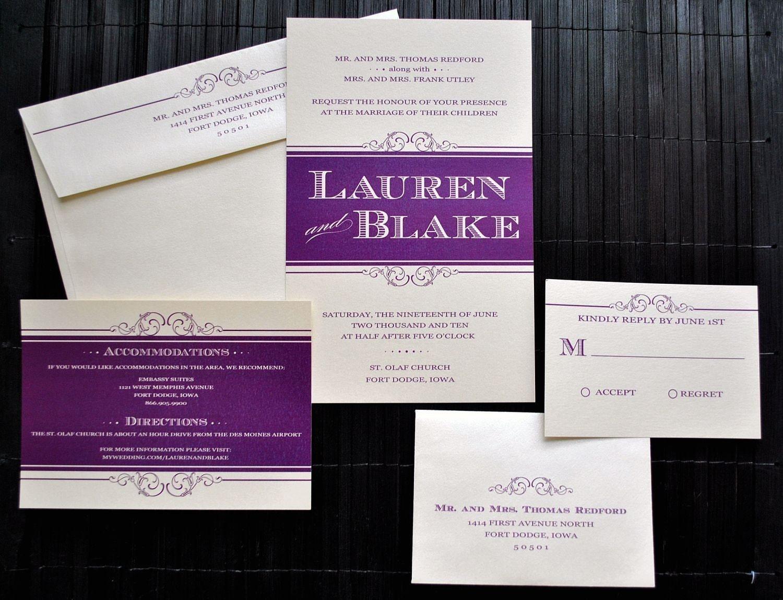 charleston wedding invitation suite plum and ivory