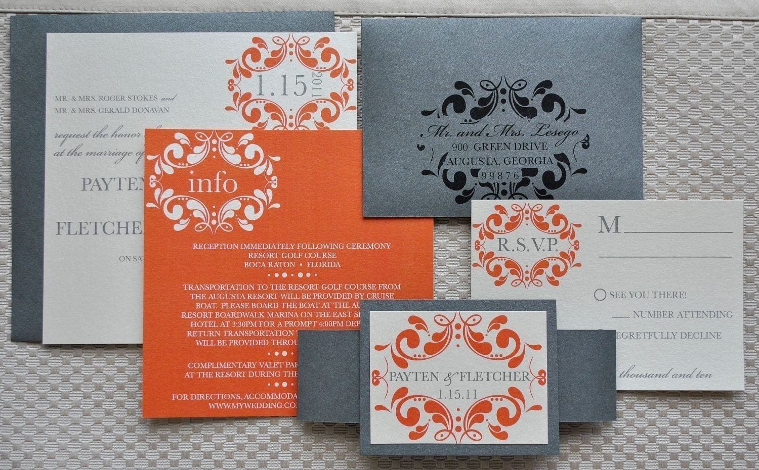 Silver Wedding Invitations: Melissa Wedding Invitation Suite Pewter Silver Orange And