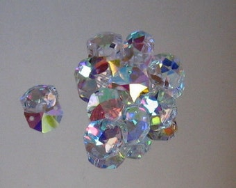 10 Crystal AB 14mm Octagon Beads