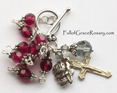 Ruby Red Rosary Bracelet Sterling Silver Unbreakable Catholic Swarovski Crystal