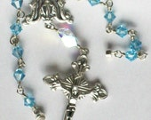 Aqua Blue Swarovski Crystal Car Rosary, Miraculous Medal, Woman's, Catholic, Unbreakable
