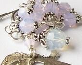 Sterling Silver Violet Opal Rosary Bracelet, Swarovski Crystal, Miraculous Medal, Unbreakable, Catholic