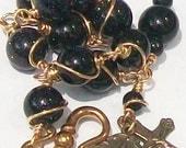 Blue Goldstone Rosary Bracelet, Bronze, Sparkles, Unbreakable, Adjustable