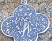 Antique Replica St. Raphael Medal Sterling Silver or Bronze Patron of Doctors, Nurses, Blind, Travelers