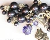 Purple Pearl Rosary Bracelet Sterling Silver Swarovski Crystal Miraculous Rose