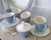 French Blue Tea Coffee Cups