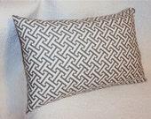 18x12 Waverly Charcoal Gray Lattice Lumbar Pillow Cover - FREE SHIPPING