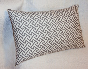 18x12 Waverly Charcoal Gray Lattice Lumbar Pillow Cover - FREE SHIPPING