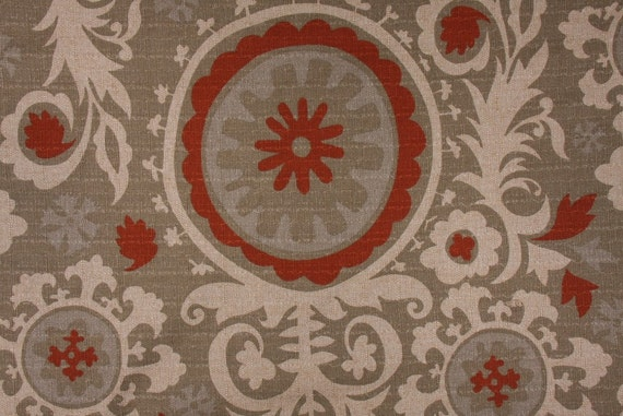 Taupe Red And Cream Suzani Fabric Pillow Cover