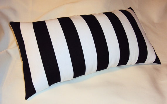 18x12 black and white canopy stripe lumbar pillow cover free. Black Bedroom Furniture Sets. Home Design Ideas