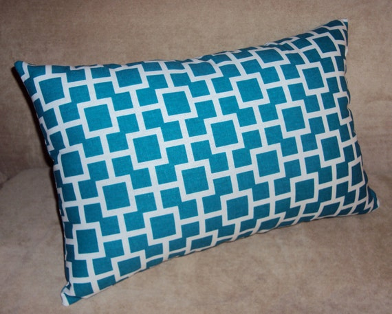 18x12 Turquoise Blue and White Lattice Lumbar Pillow Cover - FREE SHIPPING