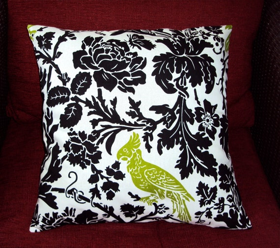 18x18 Black White and Green Bird Fabric Pillow Cover - FREE SHIPPING