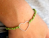 Heart charm knotted - bracelet