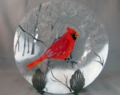Vintage Fused Glass Plate with Cardinal Bird