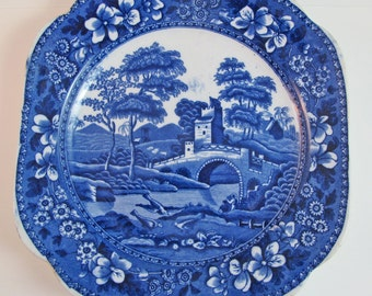 CLEARANCE Antique Plate Blue and White Copeland SALE SAVE 25% Spode Tower Blue Transfer Ware Luncheon Size