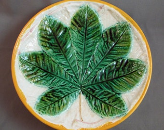 Majolica SALE George Jones Comport Chestnut Leaves Save 25% at checkout