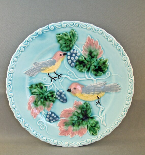 Vintage Antique German Majolica Plate with Birds