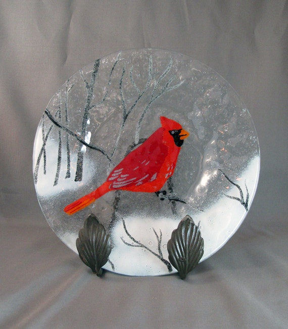 Items Similar To Vintage Fused Glass Plate With Cardinal Bird On Etsy