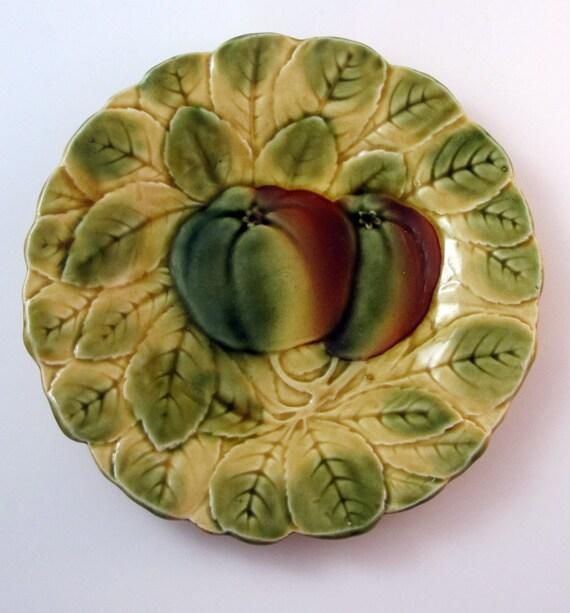 Antique Majolica Sarreguemines France Apple Plate