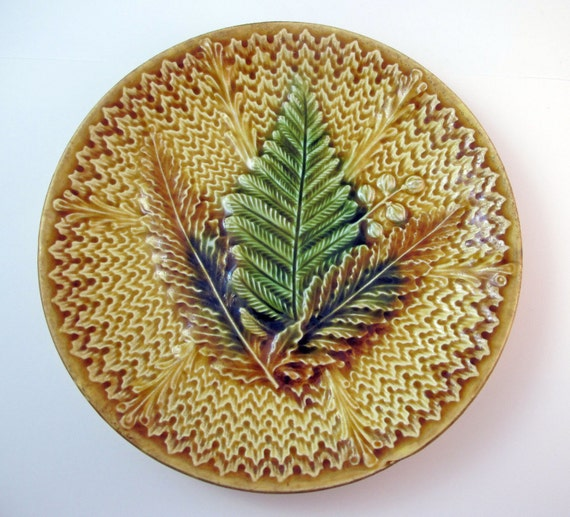 Antique Majolica Plate or Shallow Bowl with Fern
